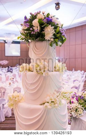 Large dining table set for wedding with blur background