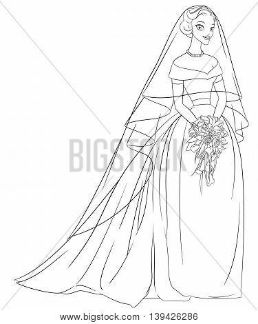 Outlined bride with veil and bouquet. Print for the coloring book. Line art vector illustration.