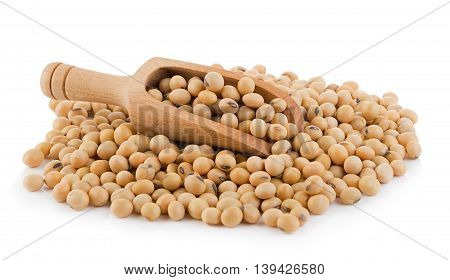 Closeup soy beans on white background. soy beans