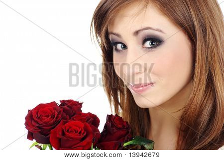 Portrait of a young woman with roses