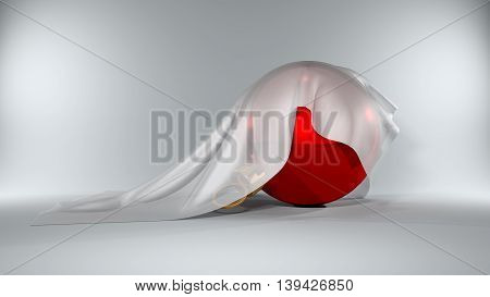 Christmas Ball Covered By A Silky Cloth