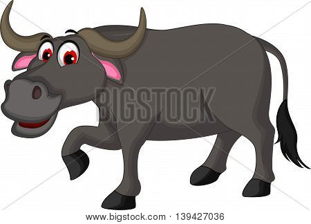 cute buffalo cartoon walking for you design