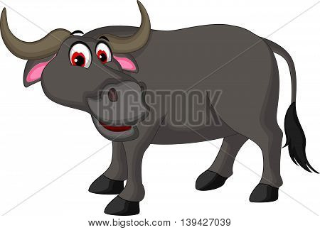 cute buffalo cartoon posing for you design