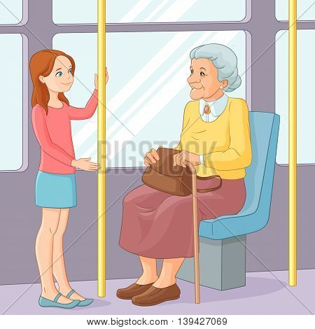 Cute young girl offering a seat to an old lady in public transport. Vector illustration.