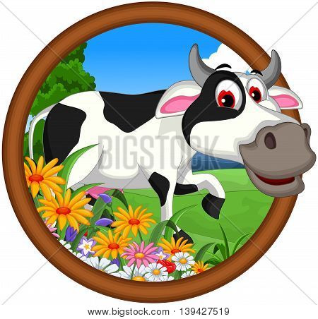 funny cow cartoon posing in the frame