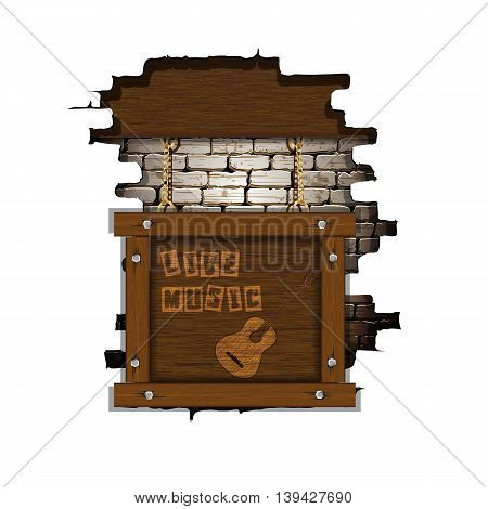 Music background with guitar in a wooden frame placed in the failure of the old brick wall. Isolated object you can place any text or image.