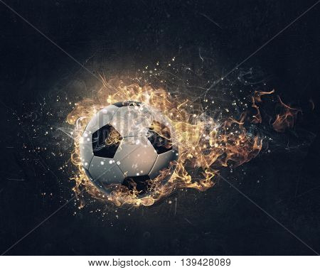 Ball burning in fire . Mixed media