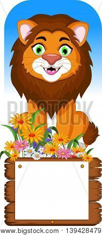 cute lion cartoon posing with blank sign