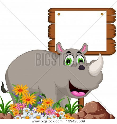Cartoon rhino with blank board for you design