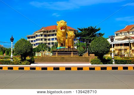 statue of lion in city of Sihanouk Ville Cambodia .