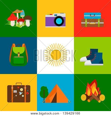 Summer travel and tourism flat line icons. Vector illustration