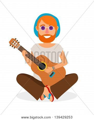 Guitar player. Hippie Man with Guitar in flat style vector illustration