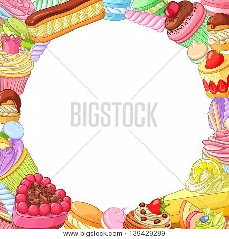 Round vector frame with variety of bright colorful assorted desserts, pastries, sweets, candies, cupcakes and macarons.