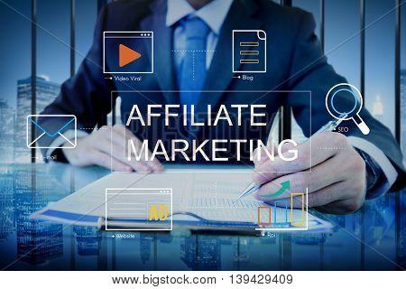 Social Media Advertisement Connection Concept