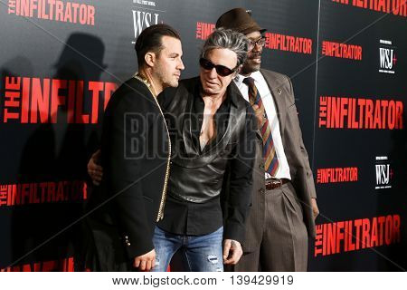 NEW YORK-JULY 11: Director Brad Furman (L) and Mickey Rourke (C) and guest attend 'The Infiltrator' New York premiere at AMC Loews Lincoln Square 13 Theater on July 11, 2016 in New York City.