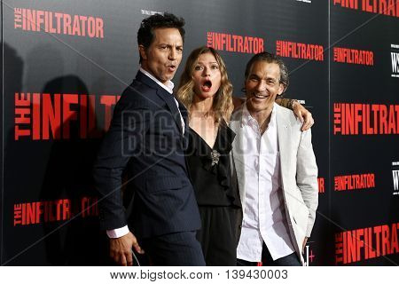 NEW YORK-JULY 11: Actors Benjamin Bratt, Jill Hennessy and Paolo Mastropietro attend 'The Infiltrator' New York premiere at AMC Loews Lincoln Square 13 Theater on July 11, 2016 in New York City.