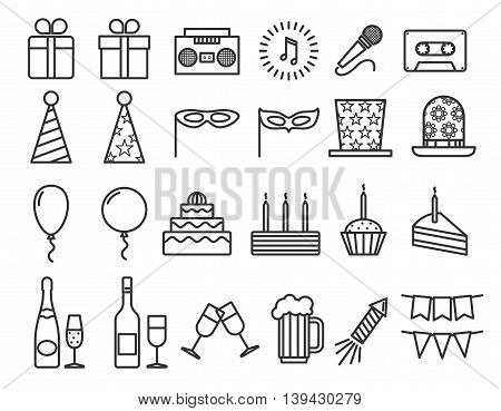 Party birthday holidays icons thin line vector outline icons set. Happy party with champagne and music, illustration carnival and party with drink and cake