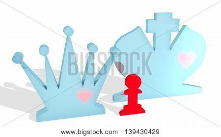 Chess figures. King and Queen with pawn child. Family metaphor. Love theme. 3D rendering.