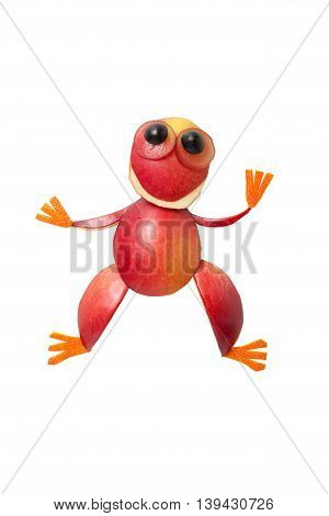 Frog in funny pose made of apple on white background