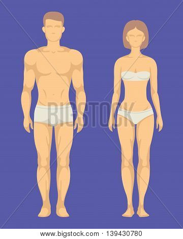 Healthy body of man and woman flat vector set. Human body illustration