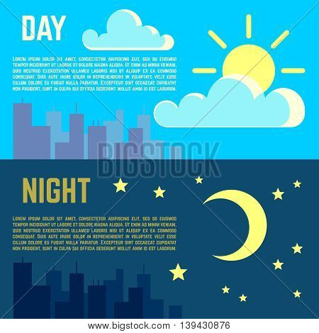 Day and night vector banners flat sun moon symbols. Moon and sun illustration time night with moon and day with sun