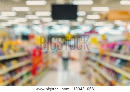 Blur Of Store For Shopping At Supermarket
