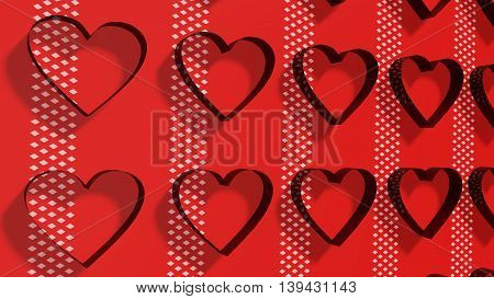 San Valentine card background with heart shapes. 3D rendering