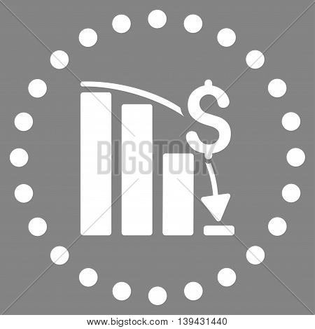 Financial Crisis vector icon. Style is flat circled symbol, white color, rounded angles, gray background.