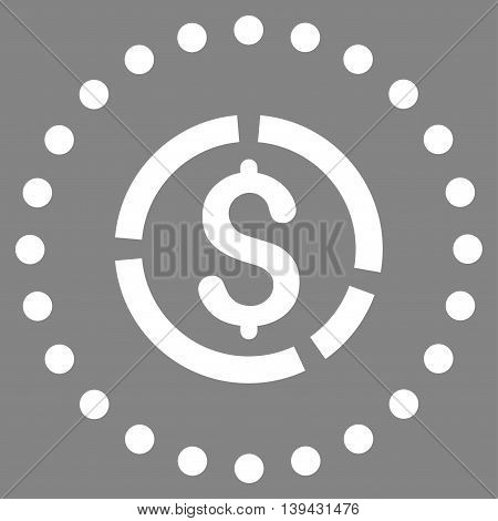 Financial Diagram vector icon. Style is flat circled symbol, white color, rounded angles, gray background.