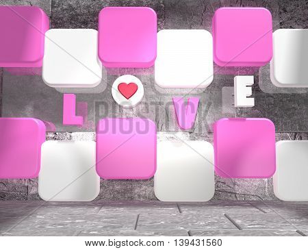 background relative to valentines day. Love text on pink and white boxes in empty concrete room. 3D rendering