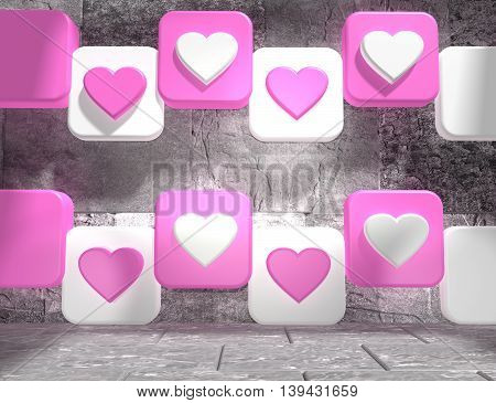 background relative to valentines day. Hearts icons on pink and white boxes in empty concrete room. 3D rendering