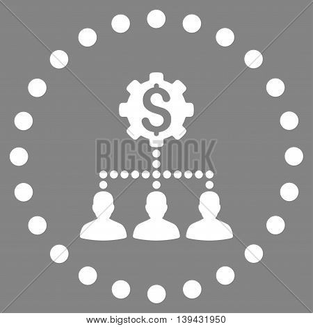 Industrial Bank Clients vector icon. Style is flat circled symbol, white color, rounded angles, gray background.
