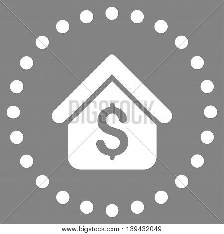 Loan Mortgage vector icon. Style is flat circled symbol, white color, rounded angles, gray background.