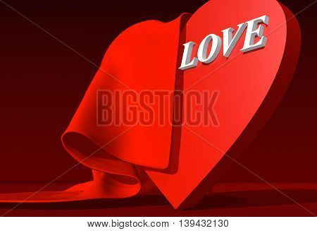 background relative to valentines day. love word and heart covered by red cloth. 3D rendering
