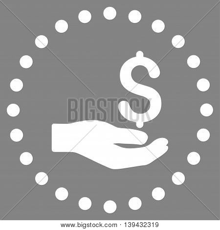 Payment vector icon. Style is flat circled symbol, white color, rounded angles, gray background.