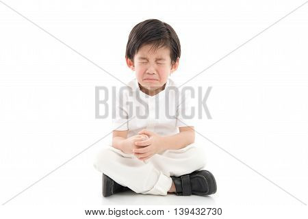 Cute asian child crying on white background isolated
