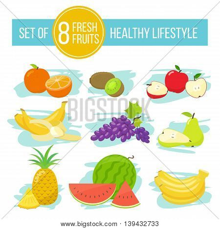 Set of colorful cartoon fruit icons healthy lifestyle. Vector stock illustration.