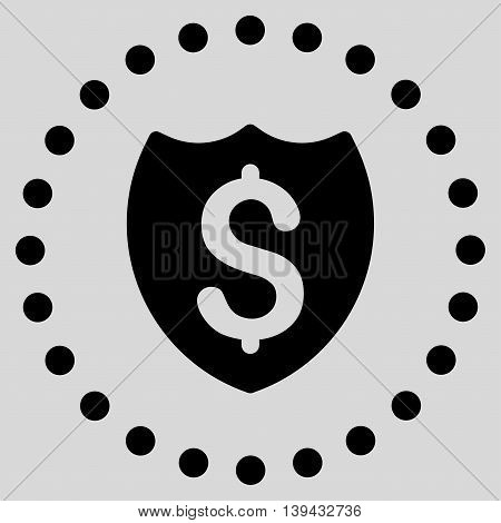Bank Insurance vector icon. Style is flat circled symbol, black color, rounded angles, light gray background.
