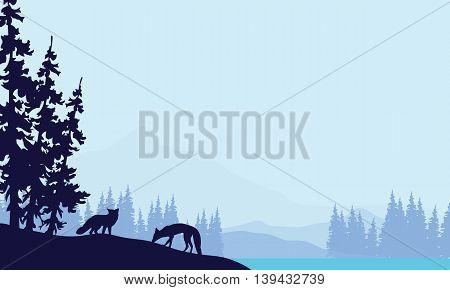 Blue backgrounds fox silhouettes landscape vector illustration