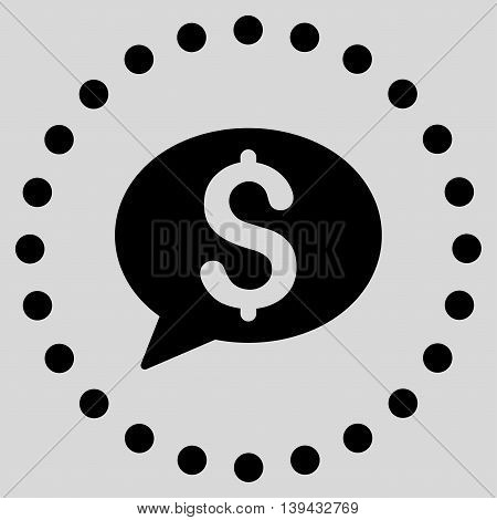 Bank Message vector icon. Style is flat circled symbol, black color, rounded angles, light gray background.