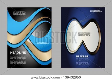 Professional business flyer template, brochure, cover design or corporate banner in blue and white color