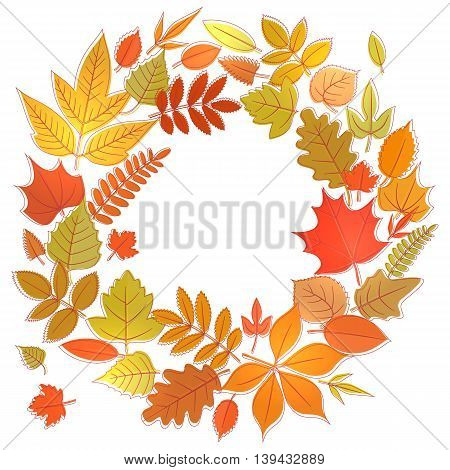 Wreath of yellow flora elements. Round frame with autumn leaves circle shape template. Vector stock illustration.