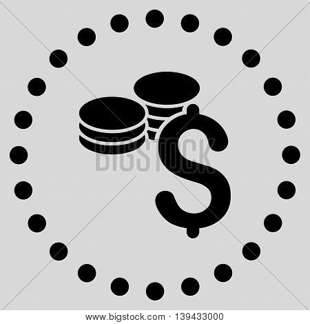 Dollar Coins vector icon. Style is flat circled symbol, black color, rounded angles, light gray background.