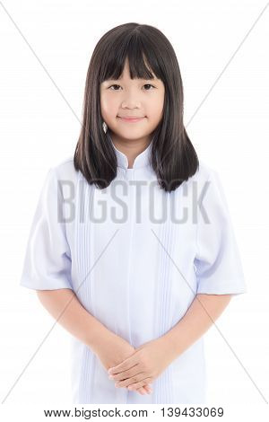 Beautiful Asian girl wearing white dress on white background isolated