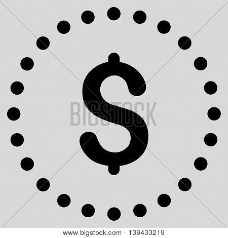 Dollar Symbol vector icon. Style is flat circled symbol, black color, rounded angles, light gray background.