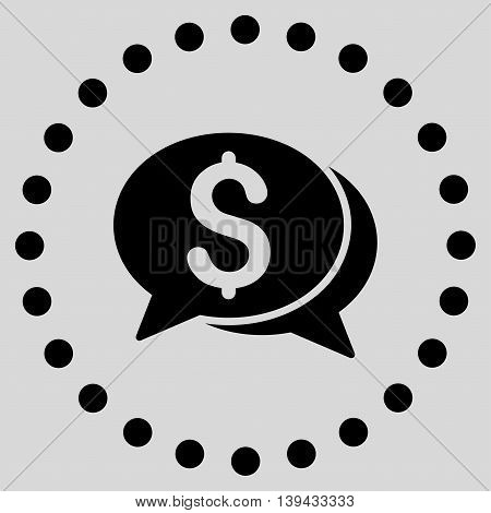 Financial Chat vector icon. Style is flat circled symbol, black color, rounded angles, light gray background.