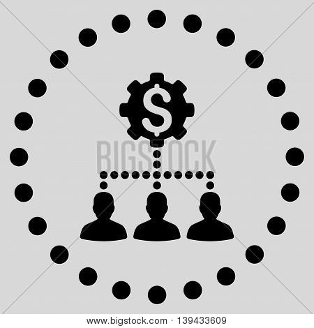 Industrial Bank Clients vector icon. Style is flat circled symbol, black color, rounded angles, light gray background.