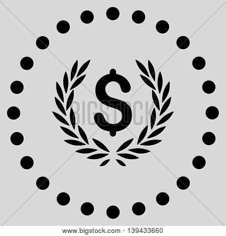 Laurel Bank Emblem vector icon. Style is flat circled symbol, black color, rounded angles, light gray background.