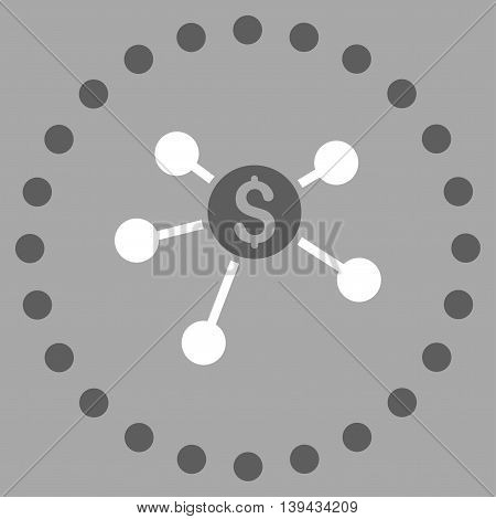 Bank Branches vector icon. Style is bicolor flat circled symbol, dark gray and white colors, rounded angles, silver background.