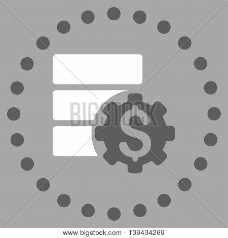 Bank Database Options vector icon. Style is bicolor flat circled symbol, dark gray and white colors, rounded angles, silver background.